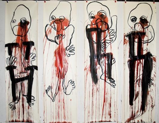 2008   4x 200 x 56 cm  papier / kohle / blut