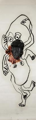 zwilling  2008   200 x 56 cm  papier / kohle / blut