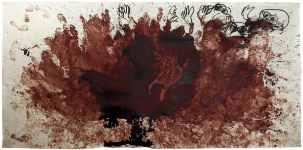 abdruck auf textil / kohle blut  400 x 200 cm